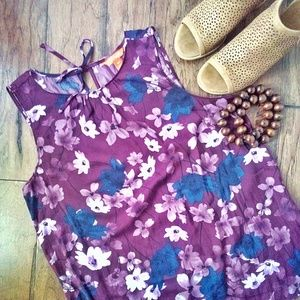 Maroon Navy WhiteFloral Blouse Keyhole Tie Sz Med